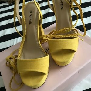 Yellow strap up heels